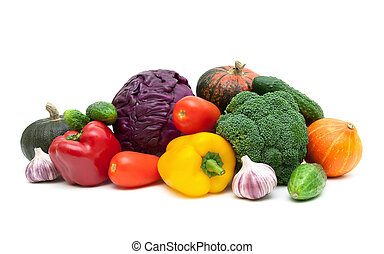 still life of fresh vegetables on a white background