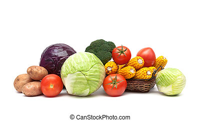 still life of fresh vegetables on a white background