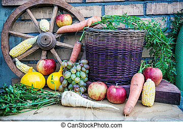 Still life of fruits and vegetables in autumn