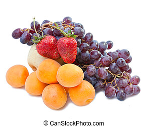 Still life of grape, pears, strawberry on white background