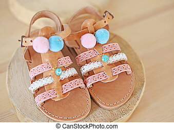greek leather sandals with pom pom for girls - kids shoes advertisement