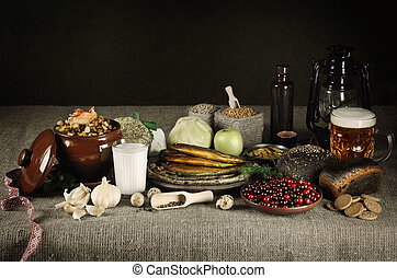 Still Life Of National Latvian Food Products