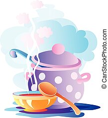 still life of pan plates and spoons, vector illustration