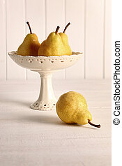 Still life of pears in fruit bowl