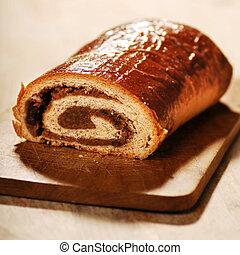 poppy bread loaf in kitchen