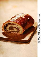 still life of poppy bread loaf