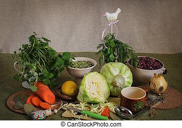 Still life of pots and garlic