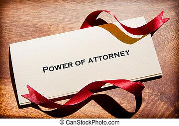 Still Life Of Power Of Attorney Document On Desk