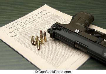 Still life of pro 2nd amendment. - A close up of a hand gun...