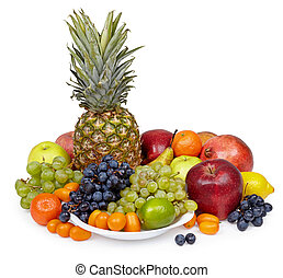 Still life of tropical fruits on white background
