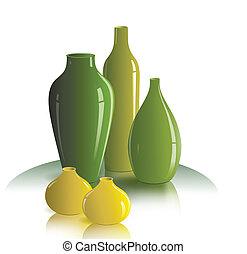 still life of vases - The illustration shows the still life ...