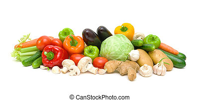 still life of vegetables and mushrooms on a white background