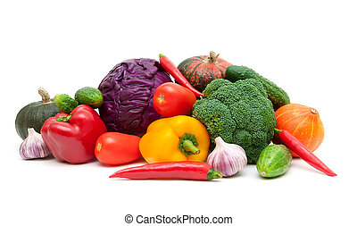 Still life of vegetables isolated on white background