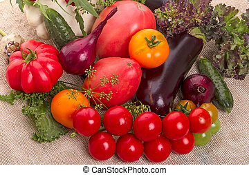 Still life of vegetables on burlap