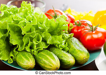 still life of vegetables on plate