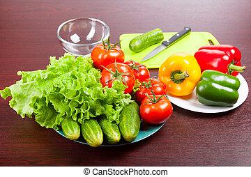 still life of vegetables on plates