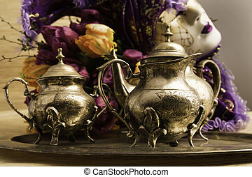 Still Life Old Teaware - silver set for drinking coffee or...