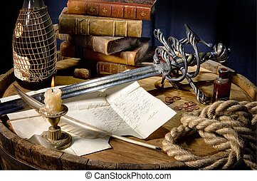 Still Life on a barrel with a sword and books