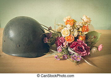 army - Still life photography on vintage army helmet and...