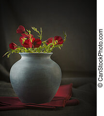 Still life Photography wild flowers in a blue vase