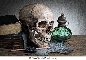 still life skull - Still life, human skull with compass on...