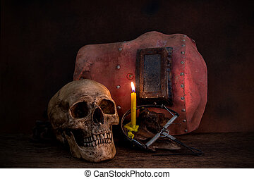 Still life skull with Old welders mask