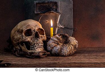 still life skull with pumpkin