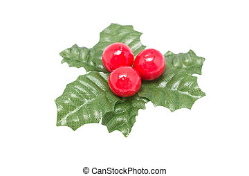 Still life sprig of holly isolated on white background.