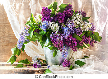 Still life sprigs lilac thriving - Still life with sprigs of...