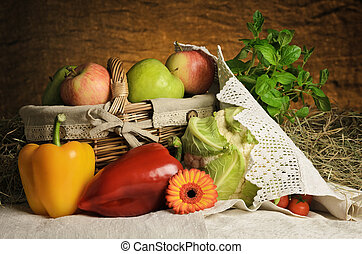Still Life Of Vegetables And Fruits. Harvest Of Bulgarian...