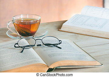 Still life tea time with book
