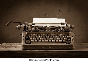 Old English type writer with paper sheet , still life