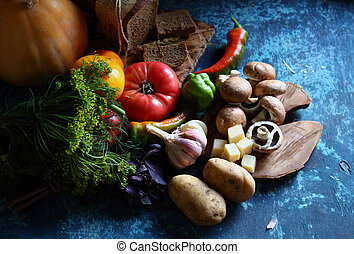 still life vegetables mix on a wooden table