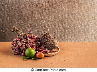 Still life Vegetables on wooden table background
