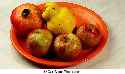 Still Life - Apples , Quince , Pomegranate