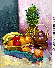 Still life with a banana, plum, pineapple and tea pot