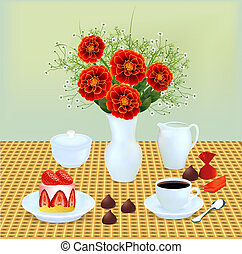 still life with a bouquet of chocolates and coffee dessert -...