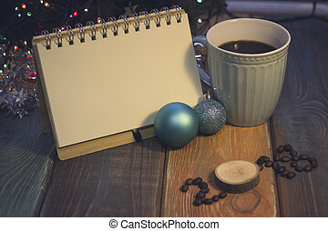 Still life with a coffee cup and 2018 inscription - A...