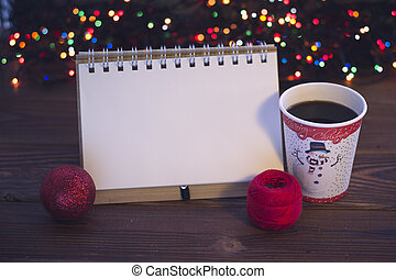 Still life with a coffee cup and ornaments - A romantic...