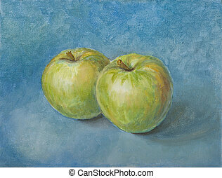 Still Life with Apples on a light blue background