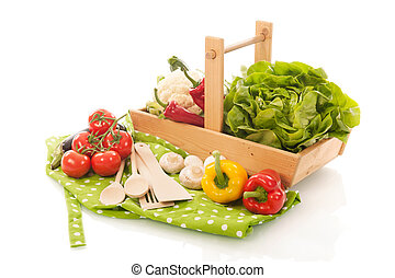 Still life with assortment vegetables