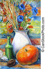 Still life with autumn flowers and pumpkins, oil painting
