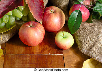 Still life with autumn fruits on rustic wooden background.