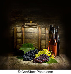 Still life with barrel - Still life with red and white wine,...