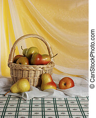 Still life with basket of pears