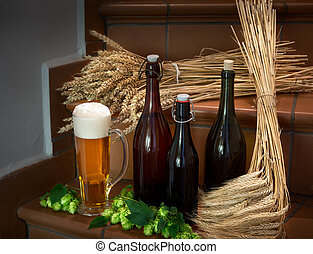 still life with beer bottles - still life with bottles and...