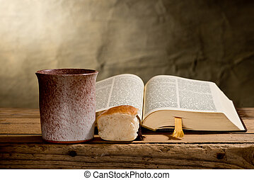 still life with Bible chalice and bread