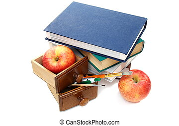 Still life with books and educational supplies.