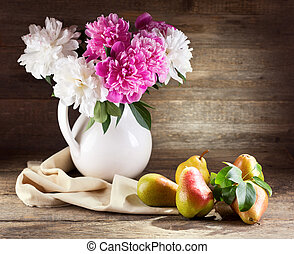 bouquet of peonies and pears - Still life with bouquet of ...