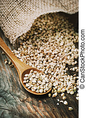 Still life  with buckwheat grain heap in wooden spoon on vintage wooden table background.